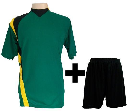 Uniforme Esportivo com 14 camisas modelo PSG Verde Preto Amarelo + 14  calções modelo Madrid + 1 Goleiro + Brindes - Gazza a6186b2a2ab9a