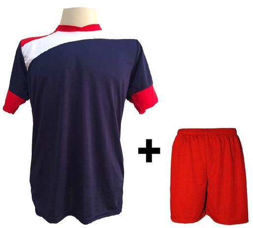 159121656f97d Uniforme Esportivo com 14 camisas modelo Sporting Marinho Vermelho Branco + 14  calções modelo Madrid Vermelho + Brindes - Gazza