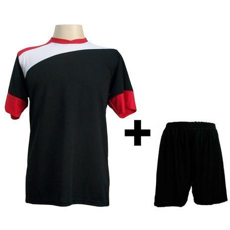 52e6ca8a7d Uniforme Esportivo com 14 camisas modelo Sporting Preto Branco Vermelho + 14  calções modelo Madrid + 1 Goleiro + Brindes - Gazza