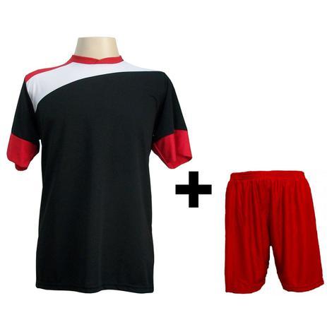 Uniforme Esportivo com 14 camisas modelo Sporting Preto Branco Vermelho +  14 calções modelo Madrid + 1 Goleiro + Brindes - Gazza 08ff478b27022