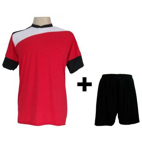 240196181ede7 Uniforme Esportivo com 14 camisas modelo Sporting Vermelho Branco Preto + 14  calções modelo Madrid + 1 Goleiro + Brindes - Gazza