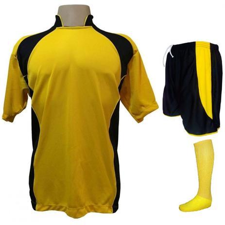 3df9a062ef Uniforme Esportivo com 14 camisas modelo Suécia Amarelo Preto + 14 calções  modelo Copa Preto Amarelo + 14 pares de meiões Amarelo - Play fair