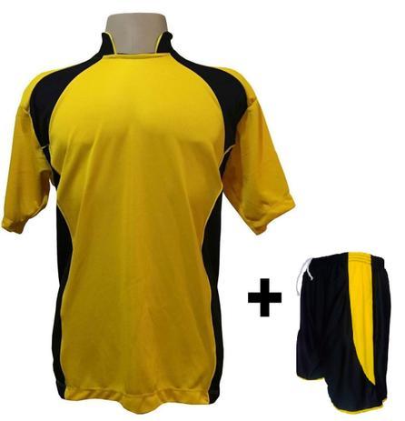 a48cff3ee7 Uniforme Esportivo com 14 Camisas modelo Suécia Amarelo Preto + 14 Calções  modelo Copa Preto Amarelo - Play fair