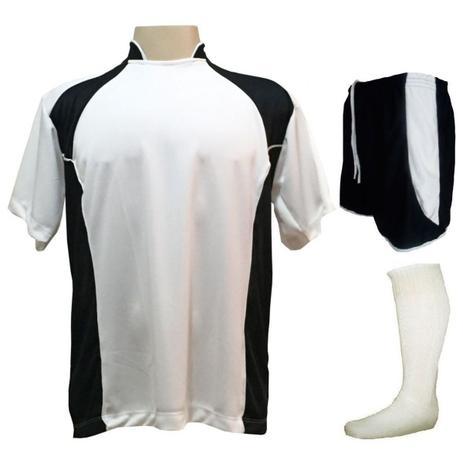 583db15a1e Uniforme Esportivo com 14 camisas modelo Suécia Branco Preto + 14 calções  modelo Copa Preto Branco + 14 pares de meiões Branco - Play fair