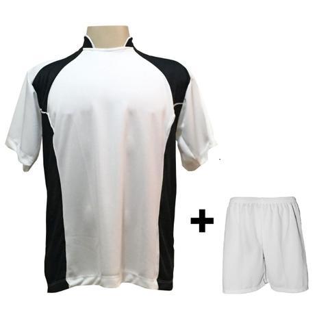 Uniforme Esportivo com 14 camisas modelo Suécia Branco Preto + 14 calções  modelo Madrid Branco + Brindes - Play fair 3fef9c3f4e369