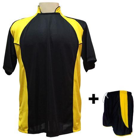 3dbf03270f Uniforme Esportivo com 14 camisas modelo Suécia Preto Amarelo + 14 calções  modelo Copa + 1 Goleiro + Brindes - Play fair