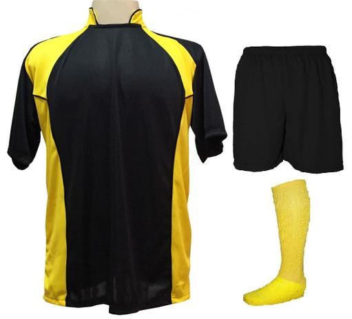 4177ec6360 Uniforme Esportivo com 14 camisas modelo Suécia Preto Amarelo + 14 calções  modelo Madrid Preto + 14 pares de meiões Amarelo - Play fair