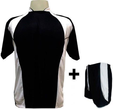 71eee381596a9 Uniforme Esportivo com 14 camisas modelo Suécia Preto Branco + 14 calções  modelo Copa + 1 Goleiro + Brindes - Play fair