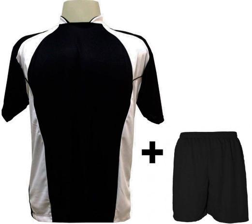 4680d28414 Uniforme Esportivo com 14 camisas modelo Suécia Preto Branco + 14 calções  modelo Madrid Preto + Brindes - Play fair