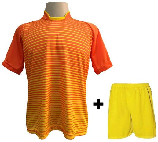 92cee479fe Uniforme Esportivo com 18 camisas modelo City Laranja Amarelo + 18 calções  modelo Madrid + 1 Goleiro + Brindes - Play fair