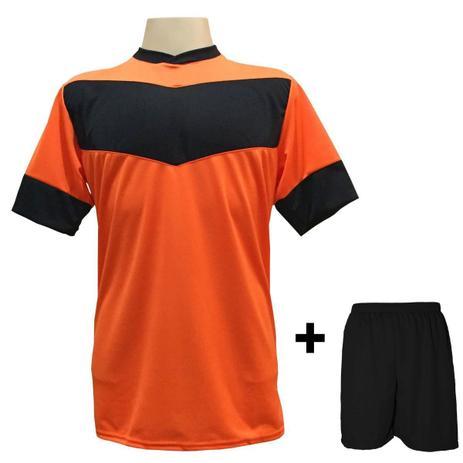 Uniforme Esportivo com 18 camisas modelo Columbus Laranja Preto + 18 calções  modelo Madrid + 1 Goleiro + Brindes - Gazza 82b40881c9bd0