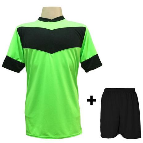 Uniforme Esportivo com 18 camisas modelo Columbus Limão Preto + 18 calções  modelo Madrid + 1 Goleiro + Brindes - Gazza 93c73bdec6ffc