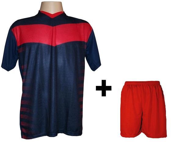 2c27ce6393 Uniforme Esportivo com 18 camisas modelo Dubai Marinho Vermelho + 18 calções  modelo Madrid Vermelho + Brindes - Kanga sport