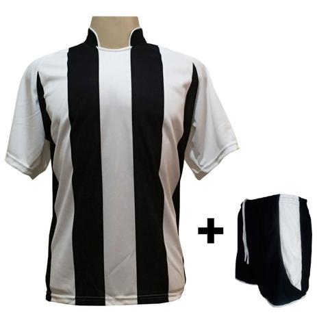 694dc05328812 Uniforme Esportivo com 18 camisas modelo Milan Branco Preto + 18 calções  modelo Copa Preto Branco + Brindes - Play fair