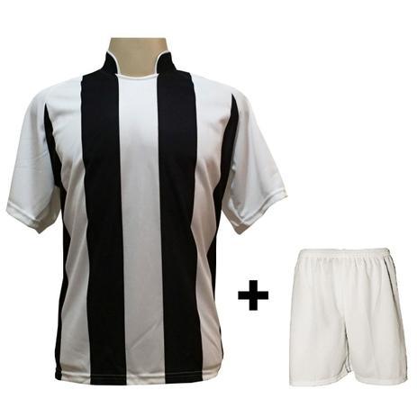 0496964418 Uniforme Esportivo com 18 camisas modelo Milan Branco Preto + 18 calções  modelo Madrid Branco + Brindes - Play fair