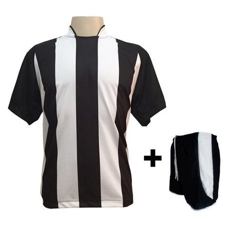 fdf8fe2623047 Uniforme Esportivo com 18 camisas modelo Milan Preto Branco + 18 calções  modelo Copa Preto Branco + Brindes - Play fair