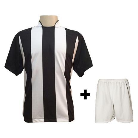2fef0aa3a6 Uniforme Esportivo com 18 camisas modelo Milan Preto Branco + 18 calções  modelo Madrid + 1 Goleiro + Brindes - Play fair