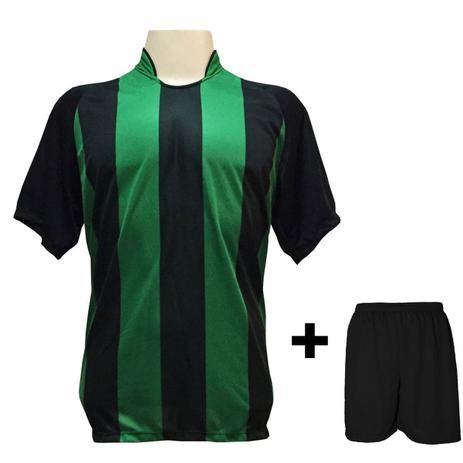 d34e66fce7d9e Uniforme Esportivo com 18 camisas modelo Milan Preto Verde + 18 calções  modelo Madrid Preto + Brindes - Play fair