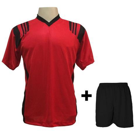 Uniforme Esportivo com 18 camisas modelo Roma Vermelho Preto + 18 calções  modelo Madrid + 1 Goleiro + Brindes - Play fair 6a3ad9272014d