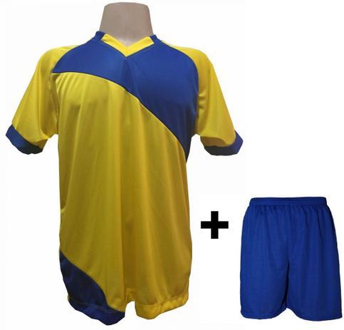 4ce9c811f3 Uniforme Esportivo com 20 camisas modelo Bélgica Amarelo Royal + 20 calções  modelo Madrid + 1 Goleiro + Brindes - Play fair
