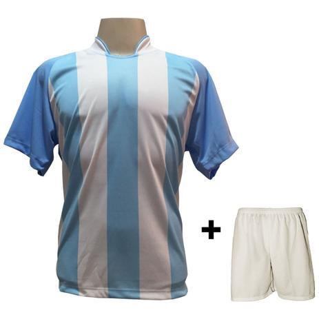 Uniforme Esportivo com 20 camisas modelo Milan Celeste Branco + 20 calções  modelo Madrid + 1 Goleiro + Brindes - Play fair 807ee359049a7