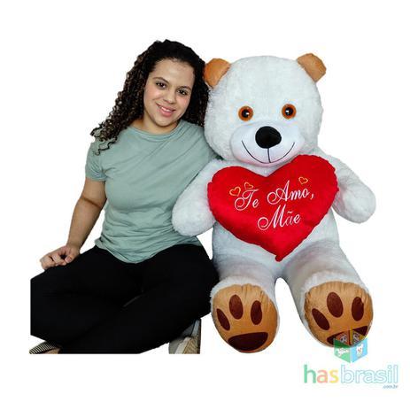 Imagem de Urso de Pelucia Gigante Branco 1 Metro e Almofada de Coração Te Amo Mãe Presente dia Das Mães