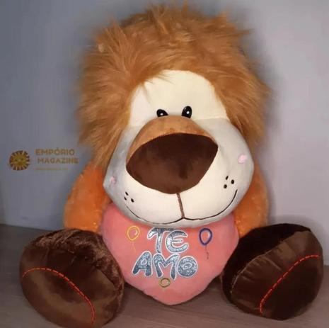 Imagem de Urso De Pelúcia Gigante Leão Grande+coração Te Amo Rosa Claro Presente Especial