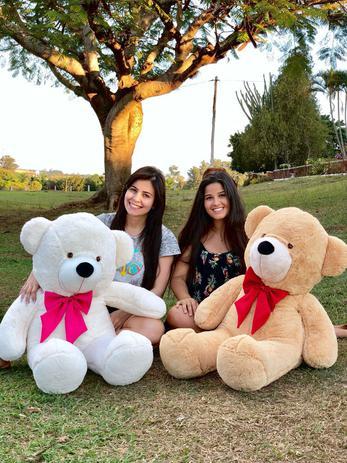 Imagem de Urso Teddy Gigante Branco com Gravata Rosa 110cm