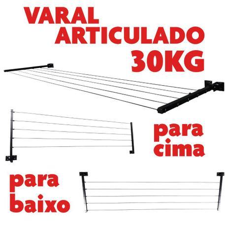 Imagem de Varal Articulado De Parede 30 Kg Extensivel Até 4 Mt Preto
