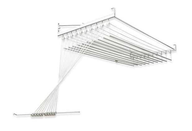 Imagem de Varal de teto ou parede Prático de alumínio medida 1,0 Metro com 10 Varetas Individuais