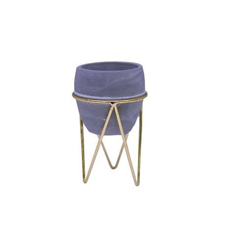 Imagem de Vaso Cachepot Oval em Cimento com Suporte Dourado - D8,5x13cm