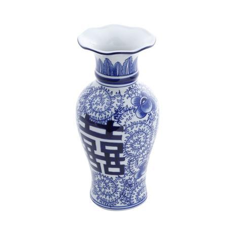 Imagem de Vaso Decorativo 25cm De Porcelana Azul E Branco Mandarim Prestige - R30401