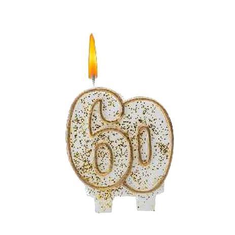 Imagem de Vela 60 anos Branca e Dourada