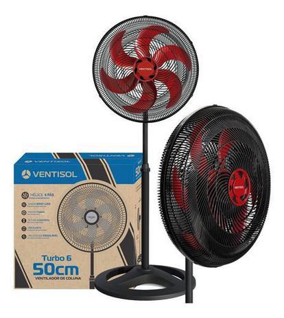 Imagem de Ventilador Coluna Vermelho 50cm Pedestal 220v Turbo Ventisol