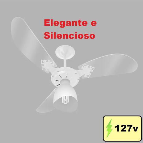 Imagem de Ventilador De Teto New Cristal Light Com lustre e 3 Velocidades Branco Venti-Delta
