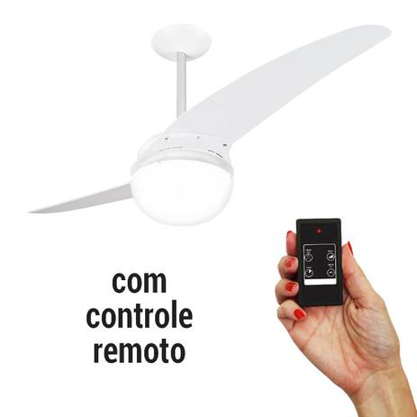 7ec5133f6 Ventilador de Teto Spirit 202 Branco Lustre Globo Controle Remoto ...