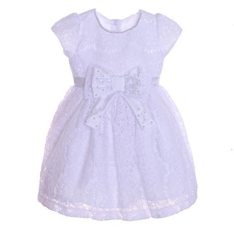 7538a83b6 Vestido Batizado Anjos Baby Renda Branco Bordado - Vestido Feminino ...