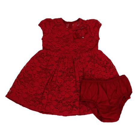 5d99d9ec0 Vestido Bebê e Calcinha de Renda Vermelho - 1+1 - Vestido para Bebê ...