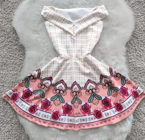 Imagem de Vestido boneca rodado Ombro a Ombro Estampas Exclusivas Moda Roupas Femininas
