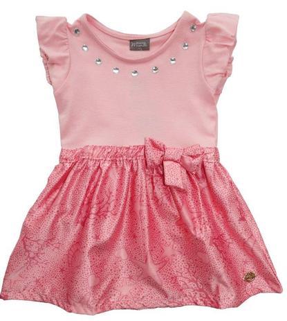 6c5a7f94c Vestido Brandili Mundi infantil rosa fundo do mar   Tamanho 1 ...