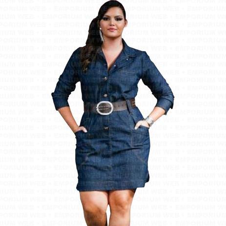 6301ab240d7f Vestido Curto Jeans Manga Longa com botões frontal Plus Size - G1 - G2 - G3  - Ewf