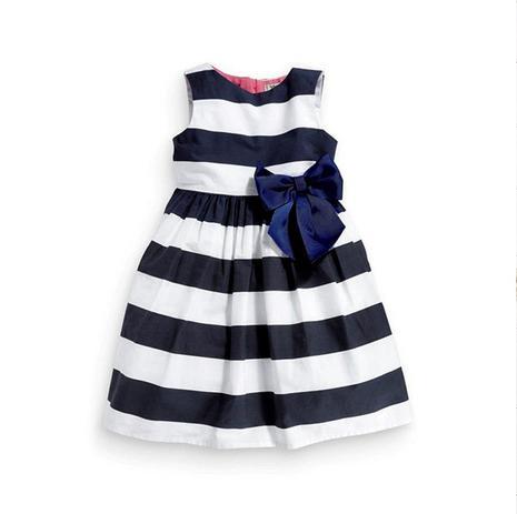 Vestido De Festa Algodão Para Menina 3 A 4 Anos Azul Branco Spuk Kids