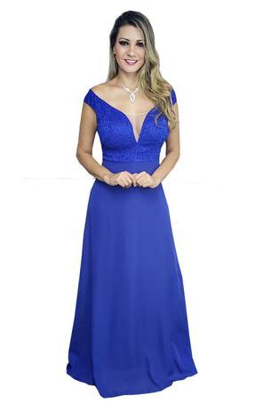 Vestido De Festa Azul Royal Madrinha Casamento Formatura Grife Velasco
