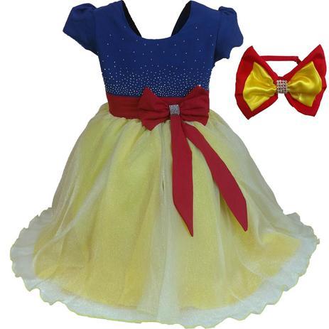 63b651216e Vestido de Festa Branca de Neve Brilhante Luxo Com Tiara - Fantasias carol  gi - Vestido Infantil - Magazine Luiza