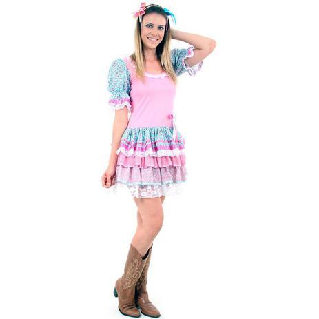 Imagem de Vestido de Festa Junina Caipira Caipirinha Adulto Flores Com Tiara