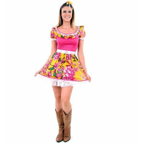 Imagem de Vestido de Festa Junina Caipira Caipirinha Adulto Rosinha Com Tiara
