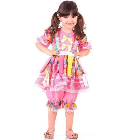 Vestido De Festa Junina Caipira Caipirinha Bebê Rosa Sulamericana