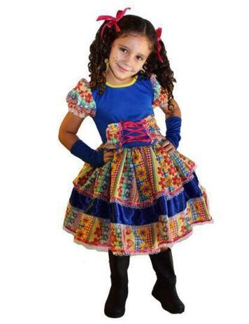 Imagem de Vestido de festa junina caipira infantil com luva elaço de cabelo m