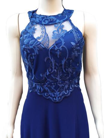 Vestido De Festa Longo Bordado Azul Marinho Noite Casamento Formatura Madrinha Elegance