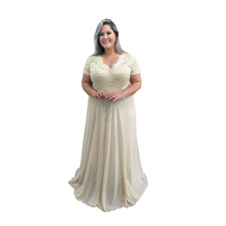 Imagem de Vestido de Festa Plus Size Nude Bege Dourado Plus Size - Madrinha